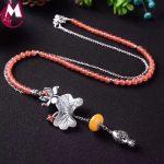 Luxury Gemstone <b>Jewelry</b> Beeswax Vintage Lotus Leaves Flower Necklace Women Strawberry Quartz Beads Long Chian Hollow Fish SN14