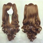 Free shipping New High Quality <b>Fashion</b> Picture wig >>LOLITA Brown Long Wavy 2 Clip Ponytail Cosplay Party Wig Hair