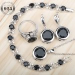 Black Zircon 925 Silver Bridal <b>Jewelry</b> Sets Earrings with Stones/Rings/Pendant/Necklace/Bracelets Set For Women Free Gift Box