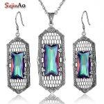 Szjinao <b>Silver</b> 925 Jewelry Square Design Rainbow Topaz <b>Earrings</b> Necklace Women Dresses Turkish Jewelry Vintage Wholesale