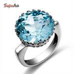 Szjinao Bud Shape Fashion Vintage Aquamarine Romantic Big Rings for Women Wedding Engagement 925 <b>silver</b> Luxury Brand <b>Jewelry</b>