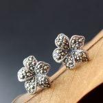 Ecoworld Ge jewelry wholesale S925 pure Tremella nail set Marcasite Shitai Tremella nail manual petal <b>Earrings</b>