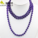 New Accessory Chalcedony Beads Purple Crystal Necklace Natural Stone for Women Girls Gifts Party Ball <b>Jewelry</b> <b>Making</b> 8mm 50inch
