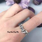 Skull 925 Sterling <b>Silver</b> Vintage Rings Elegant Flower Unisex Wedding Engagement Punk Rings 2018 Fashion <b>Jewelry</b> Say You Say Me