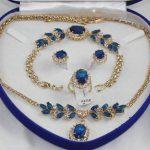 Prett Lovely Women's Wedding shipping>> Inlay Blue crystal Necklace Bracelet Ring Earring set AAA silver-<b>jewelry</b> brinco