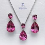 TBJ,natural pink topaz jewelry set <b>earring</b> and pendant S925 <b>silver</b> luxury shiny jewelry for women daily party wear gift for wife