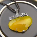 FNJ 925 Silver Heart Pendant Natural Yellow Stone 100% Real S925 Solid Original Silver Pendants for Women <b>Jewelry</b> <b>Making</b>