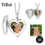 Heart Locket Photo Pendant <b>Necklace</b> 925 Sterling <b>Silver</b> Personalized Engravable Name <b>Necklaces</b> Gifts for Family Girls YDS-1090