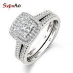 Szjinao Luxury Brand 925 <b>Sterling</b> <b>Silver</b> Bridal Set Ring for Women with Paved Micro Lab Diamond Platinum Color Wedding <b>Jewelry</b>