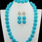 Nigerian Beaded Necklaces Sets light blue imitation pearls <b>Handmade</b> African Lace Bridal <b>Jewelry</b> Sets Necklace Free Shipping