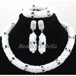 Lovely <b>Handmade</b> Lace Jewlery White Crystal African Beaded <b>Jewelry</b> Sets Nigerian Party Beads Necklace Set Free Shipping ABK916