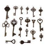 69Pcs <b>Antique</b> Vintage Old Look Bronze Skeleton Key Fancy Heart Bow Pendant Decor W715
