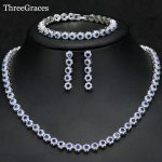 ThreeGraces Newest Bridal Royal Blue Flower CZ Crystal <b>Bracelets</b> Earrings Jewelry <b>Silver</b> Color 3PCS Wedding Necklace Sets JS243