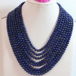 Hot sale natural lapis lazuli stone 6mm 8 rows round beads diy fashion necklace <b>making</b> 17-26″B649