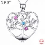 Genuine 925 Sterling Silver Tree Of Life Pendants <b>Necklaces</b> Love Heart Colorful Crystal CZ <b>Jewelry</b> <b>Necklace</b> For Women PYX0048