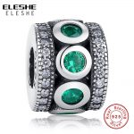 ELESHE Green CZ Crystal Spacer Beads Fit ELESHE Charms Silver 925 Original Bracelet <b>Fashion</b> DIY <b>Jewelry</b> For Women Charm Beads