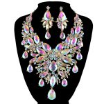 9 color women rhinestone pageant <b>Jewelry</b> sets Pecock Style fashion Bridal party wedding Dress <b>necklace</b> earrings Christmas gift
