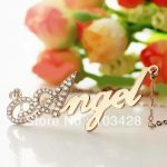 Freeshipping- <b>Silver</b> Capital Letter Name <b>Necklace</b> Personalized Nameplate Rose Gold Color Pendant Letters Jewelry