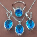 Egg Design Sky Blue Stone Women's 925 Silver <b>Jewelry</b> Sets Necklace Pendant Stud Earrings Rings Free Shipping TZ0191