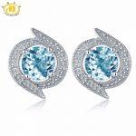 Hutang New Design Real Blue Topaz Stud <b>Earrings</b> Solid 925 Sterling <b>Silver</b> Gemstone Fine Jewelry Women's Accessories <b>Earrings</b>