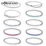 DORAPANG 100% 925 Sterling <b>Silver</b> Drop gum <b>bracelet</b> Clear CZ Charm Bead fit pendant DIY crystal <b>Bracelets</b> The factory wholesale