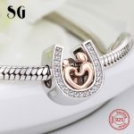 Silver 925 horseshoe CZ Charms diy Mom and son hand in hand Beads Fit Original pandora Bracelet pendant <b>Jewelry</b> making gifts