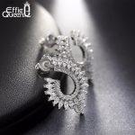 Effie Queen Luxury Crystal Angel Wing Earrings 25mm*16mm Real 925 Sterling Silver Stud Earring Women <b>Wedding</b> <b>Jewelry</b> Gift BE32