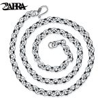 ZABRA Gothic Genuine 925 <b>Sterling</b> <b>Silver</b> Round Circle High Polished Necklace Men Vintage Long Chain Link <b>Jewelry</b> For Male