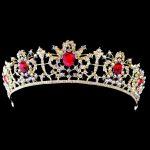 Vintage Hair Accessories Princess Crown Baroque Tiara <b>Wedding</b> Big Red Crystal Crown Headband Gold Hair <b>Jewelry</b> Bridal Head Piece