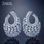 ZAKOL Famous Design Luxury Popular Geometry Flower Full Mirco Paved Cubic Zirconia <b>Wedding</b> Earring Fashion <b>Jewelry</b> FSEP2089