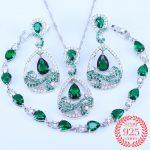 Best Hot New Jewelry Sets 925 <b>Silver</b> Green & White Austrian Crystal Pear Drop Earring Pendant Necklace <b>Bracelets</b> Woman