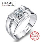 YHAMNI Classic Men Ring Set 6MM 1 Carat CZ Diamant Engagement Ring 925 Solid Silver <b>Wedding</b> Ring for Men <b>Jewelry</b> Wholesale RNJ29