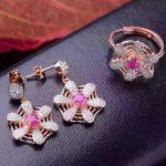 Natural red ruby gem jewelry sets natural gemstone ring <b>Earrings</b> 925 <b>silver</b> Stylish lovely Network Fan women wedding jewelry