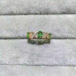 Natural Tsavorite Ring Natural green garnet stone Ring 925 <b>sterling</b> <b>silver</b> trendy Lucky elegant array women party fine <b>Jewelry</b>