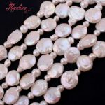 13-15mm Coin White Freshwater Pearl Beads Natural Stone Beads For DIY Necklace Bracelets <b>Jewelry</b> <b>Making</b> 14.5″ Free Shipping