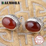 BALMORA 925 Sterling <b>Silver</b> Oval Earrings for Women Gift Red Earrings Fashion Elegant Sterling <b>Silver</b> <b>Jewelry</b> Brincos MN30721