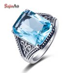 Szjinao Women Fashion Blue Stone Ring Vintage Aquamarine 925 Sterling Silver <b>Jewelry</b> <b>Handmade</b> bague femme de marque de luxe