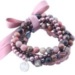MetJakt Natural Gemstone Mix Cherry Quartz,fresh Water Pearl,Rhodonite,Handmade Elastic <b>Bracelet</b> with Double Happiness Charm