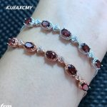 KJJEAXCMY Fine jewelry 925 Sterling <b>Silver</b> Natural Garnet <b>Bracelet</b> for sale, manufacturing professional wholesale