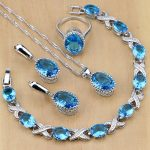 Silver 925 <b>Jewelry</b> Blue Birthstones <b>Jewelry</b> Sets For Women <b>Wedding</b> Earring/Pendant/Necklace/Rings/Bracelet