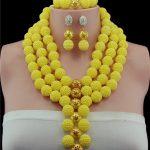 Plastic Pearl Ball Gold-color Ball Yellow African Wedding Beads <b>Jewelry</b> Set <b>Handmade</b> Statement Necklace Set Pendant