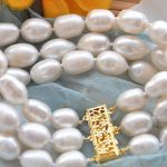 FREE SHIPPING 3row 8″ white rice FRESHWATER CULTURED pearl <b>bracelet</b>