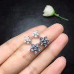 natural London blue topaz drop earrings 925 <b>silver</b> Natural gemstone women fashion Flower drop earrings <b>jewelry</b> for woman party
