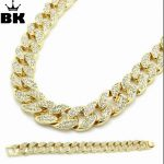 Miami Cuban Link Chain Set Gold Color Fully Iced Out Rhinestone Hip Hop Bling 2016 Hot Sale 15mm 30″ Necklace & 8.5″ Bracelet
