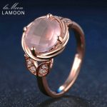 LAMOON Flower 9mm 100% Natural Round Pink Rose Quartz Ring 925 Sterling <b>Silver</b> <b>Jewelry</b> Romantic Wedding Band LMRI016