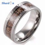 SHARDON <b>Wedding</b> and Engagement <b>Jewelry</b> <b>Wedding</b> Band with Real Wild Antler Inlaid Titanium Ring Men's Outdoor Hunting Ring