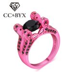 Black stone ring sterling-silver-<b>jewelry</b> pink gold color rings for women cocktail party <b>jewelry</b> fashion <b>accessory</b> anillos DD043