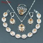 Champagne Morganite 925 <b>Silver</b> Color Jewelry Set For Women Drop Earrings Ring Earrings Pendants <b>Bracelets</b> Women Jewelry