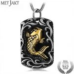 MetJakt 925 <b>Sterling</b> <b>Silver</b> Gold Fish Pendant and <b>Silver</b> Snake Chain Necklace Men and Women Lucky Wealth Pendant <b>Jewelry</b>