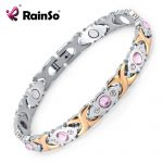 Rainso Crystal Gem Woman Bracelet Stainless Steel Health Energy Magnetic Gold <b>Fashion</b> <b>Jewelry</b> Lady Bracelets Gift for Girls